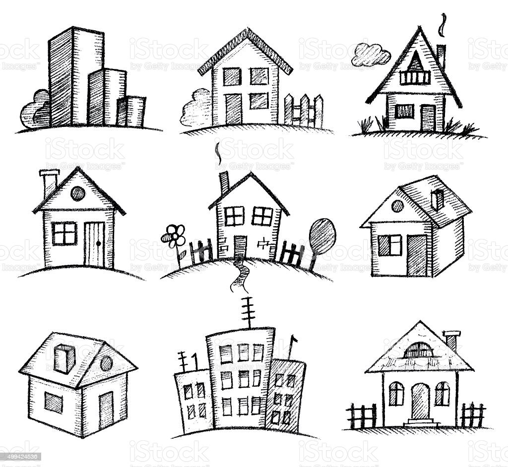Sketch houses icon set stock vector art 499424536 istock for How to draw a cute house