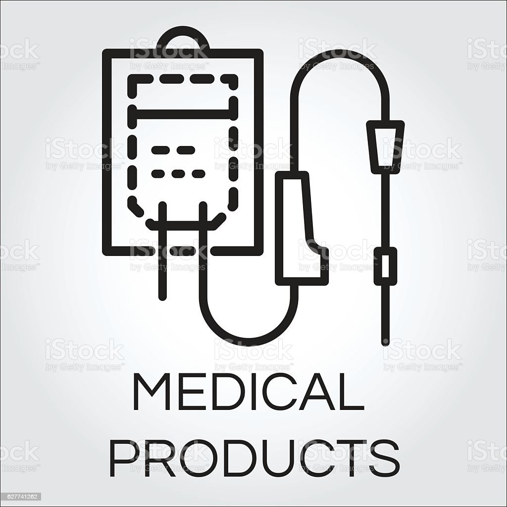 Sketch icon of intravenous dropper drawn in outline style vector art illustration
