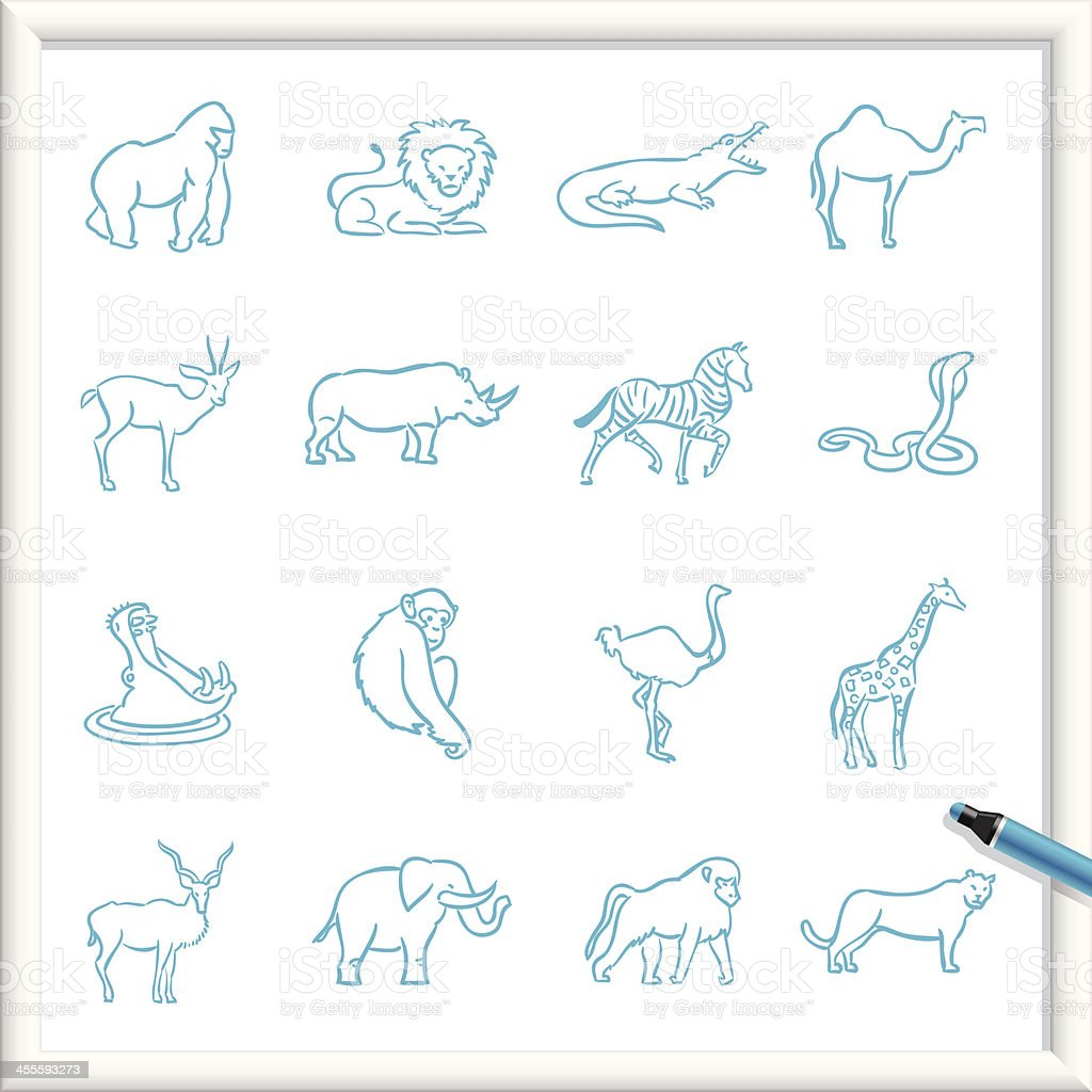 Sketch Icons - African Animals royalty-free stock vector art