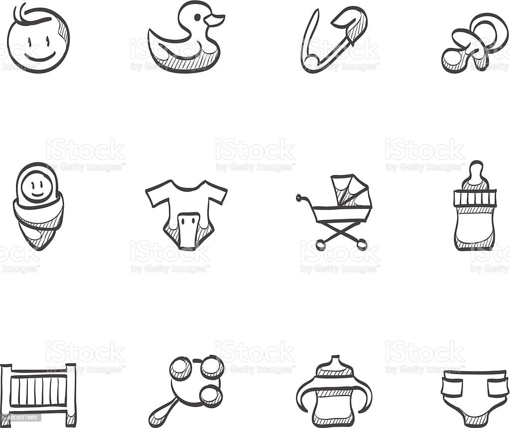 Sketch Icons - Babies vector art illustration