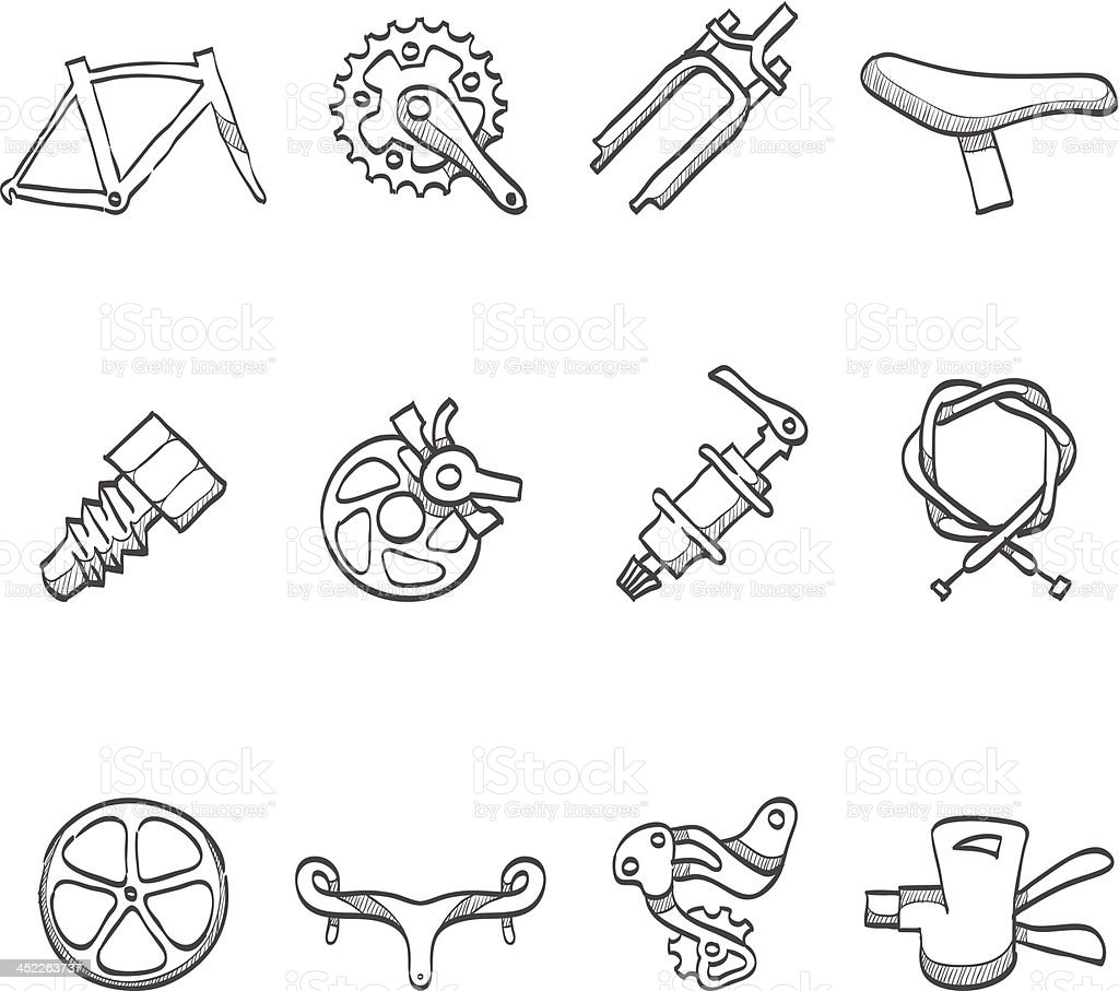 Sketch Icons - Bicycle Parts royalty-free stock vector art