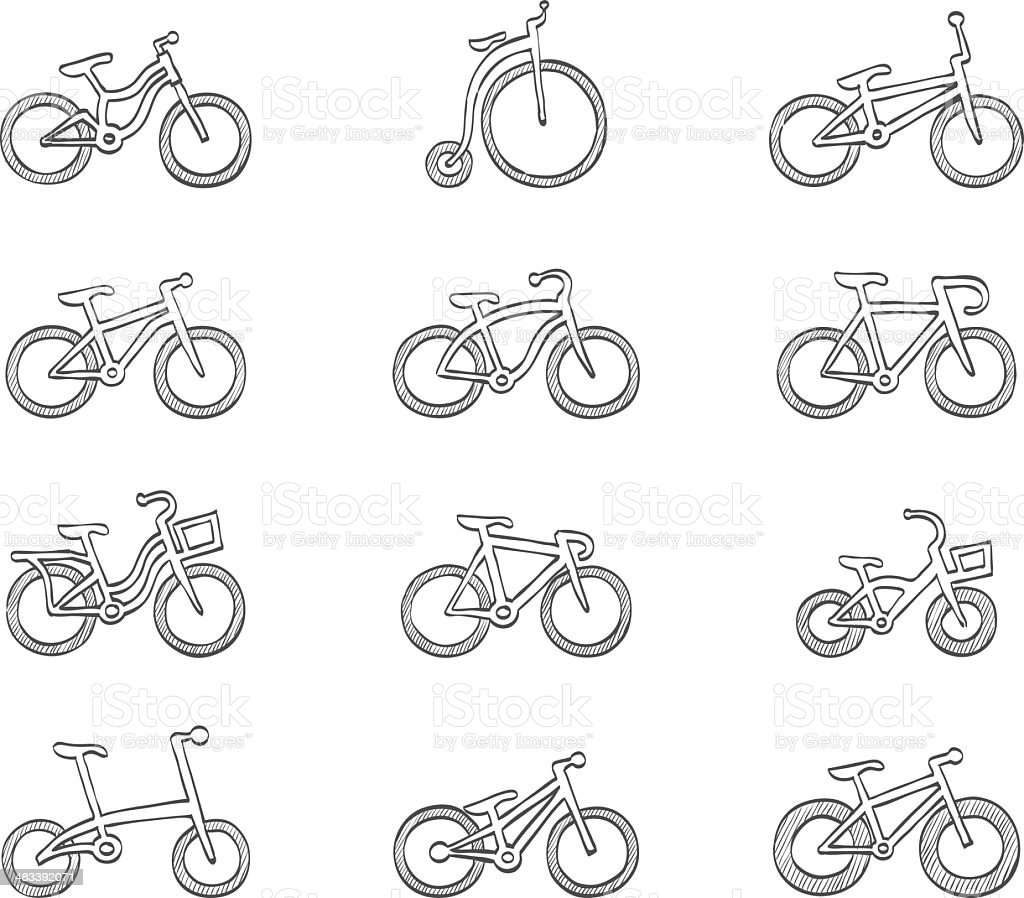 Sketch Icons - Bicycles royalty-free stock vector art