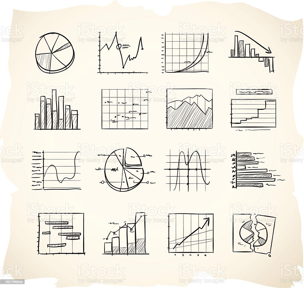 Sketch icons charts and graphs vector art illustration