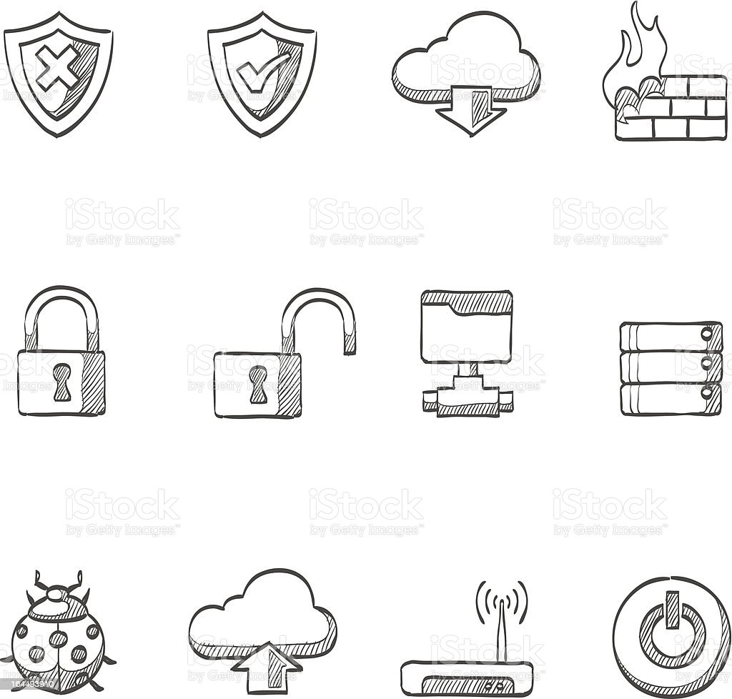Sketch Icons - Computer Network royalty-free stock vector art