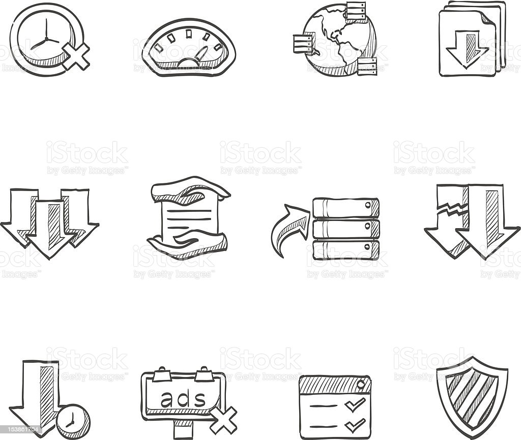 Sketch Icons - File Sharing royalty-free stock vector art