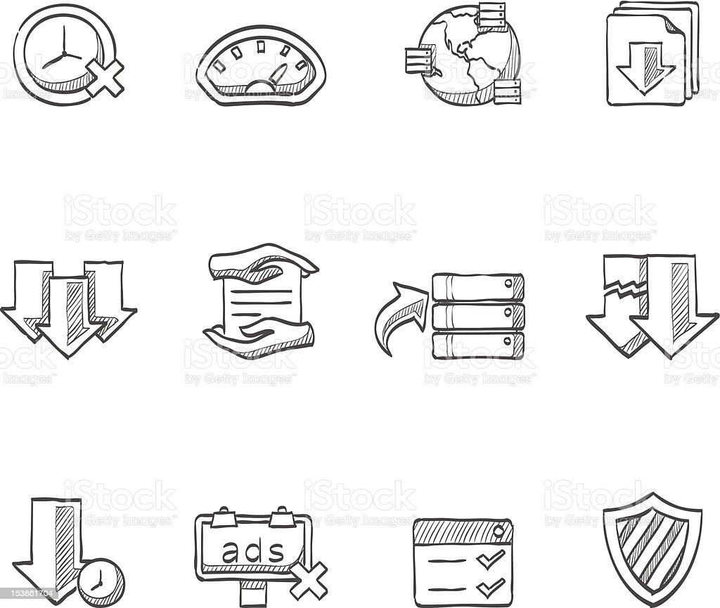 Sketch Icons - File Sharing vector art illustration