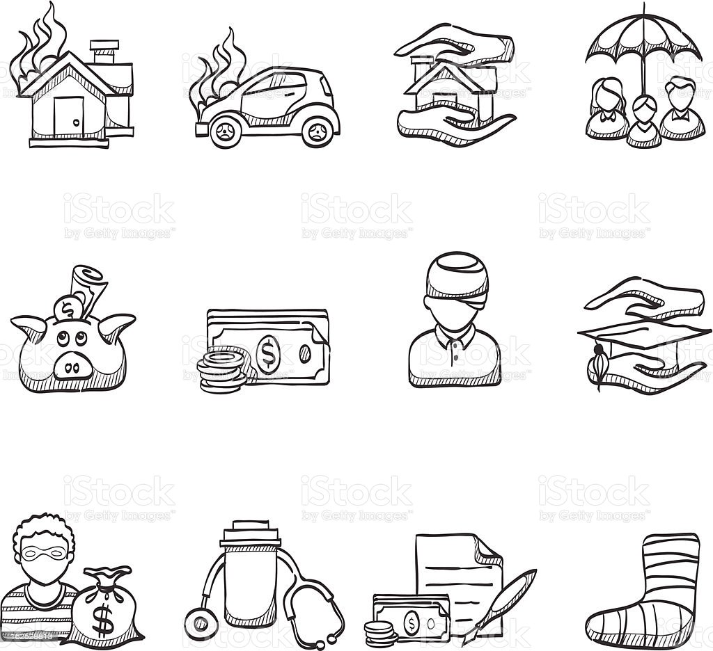 Sketch Icons - Insurance vector art illustration