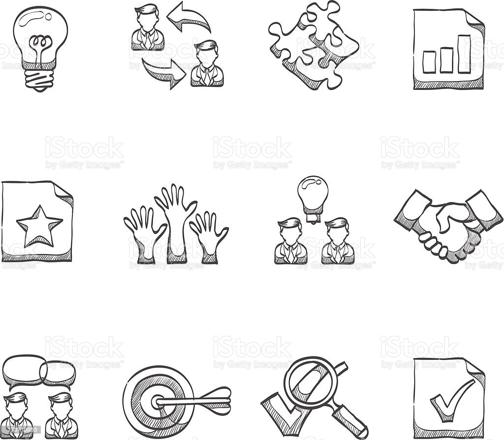 Sketch Icons - Management royalty-free stock vector art