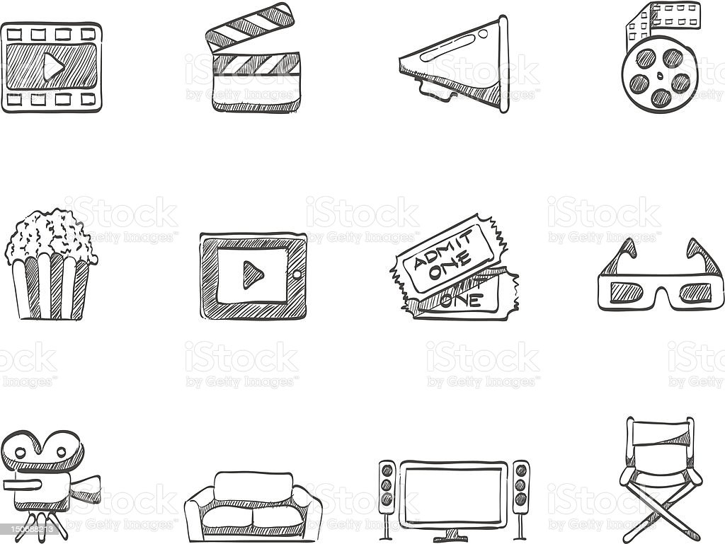 Sketch Icons - Movie vector art illustration