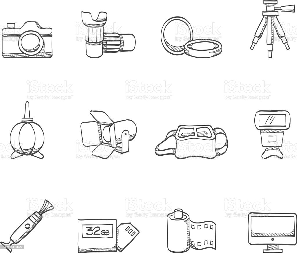 Sketch Icons - Photography vector art illustration