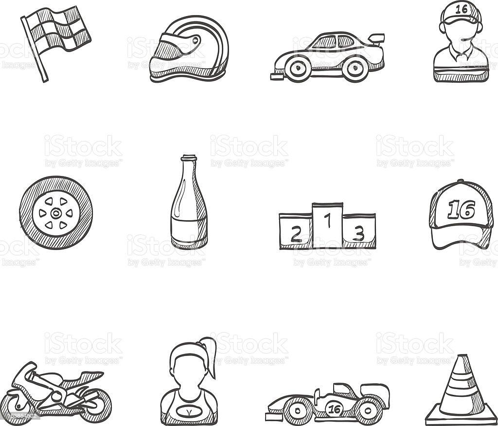 Sketch Icons -  Racing vector art illustration