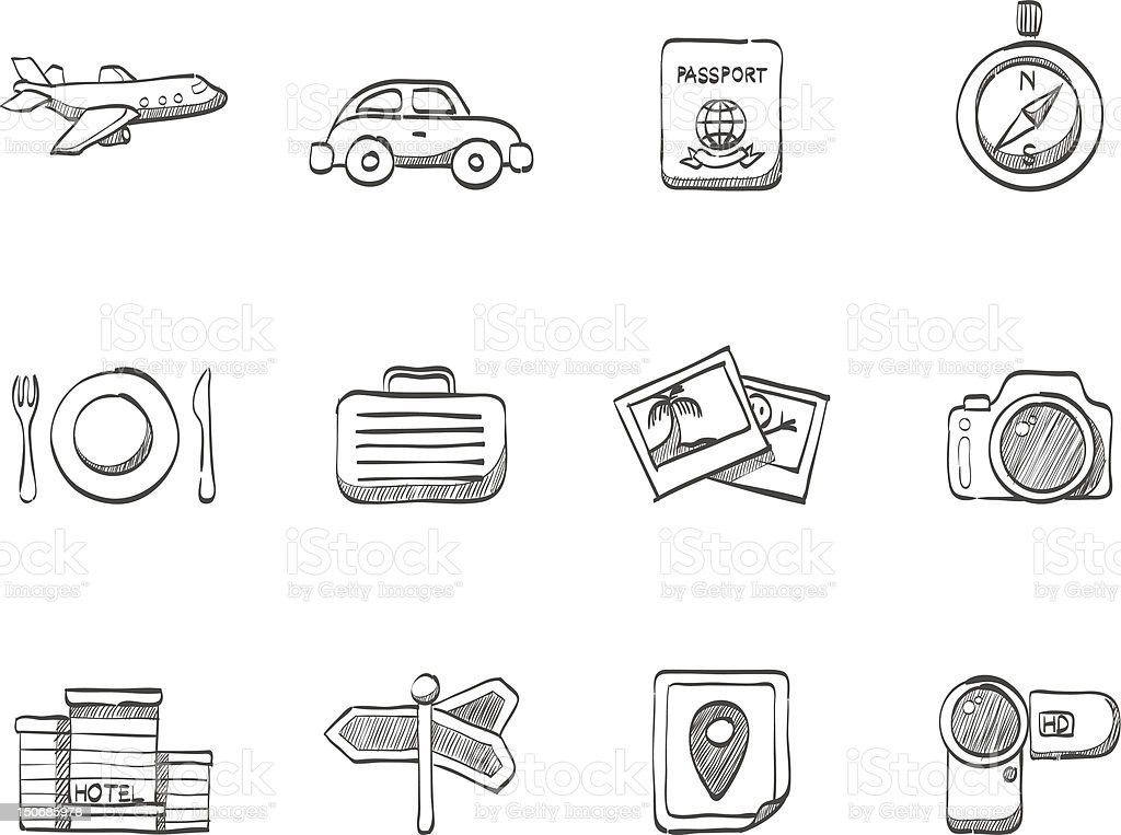 Sketch Icons - Travel royalty-free stock vector art