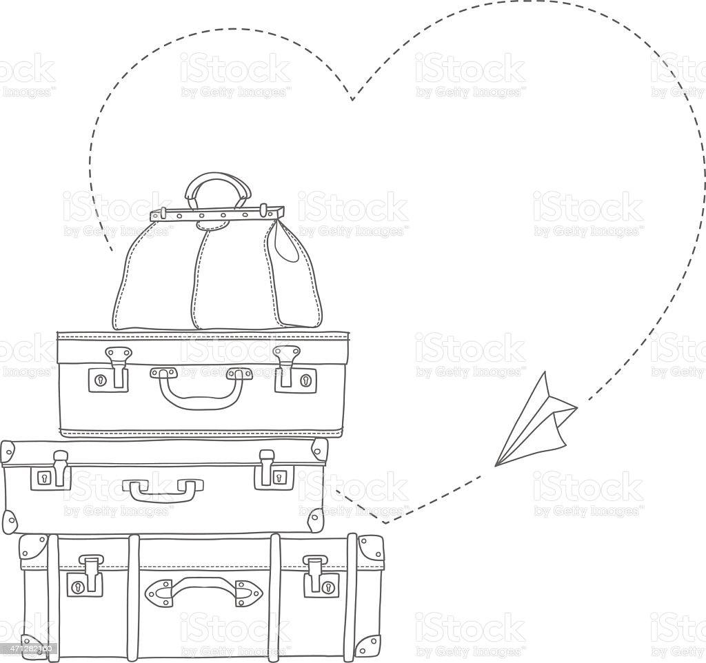 O desenho de Ilustração de livro de Avião voando ao redor de malas isolada vetor e ilustração royalty-free royalty-free