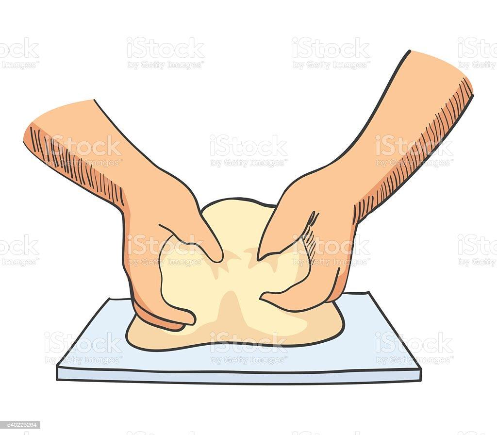 Sketch illustration of hands kneading dough vector art illustration