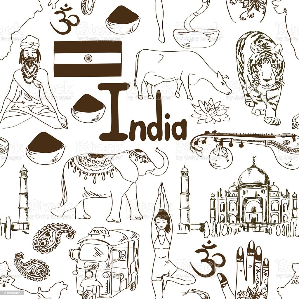 Sketch Indian seamless pattern vector art illustration