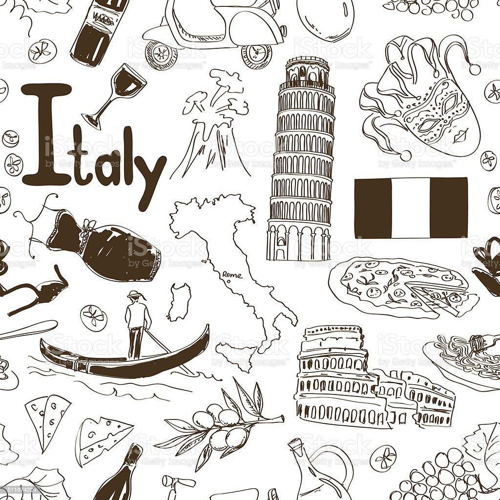 Sketch Italy seamless pattern vector art illustration