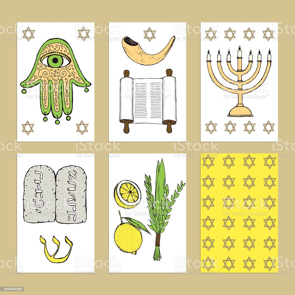 Sketch Jewish posters vector art illustration