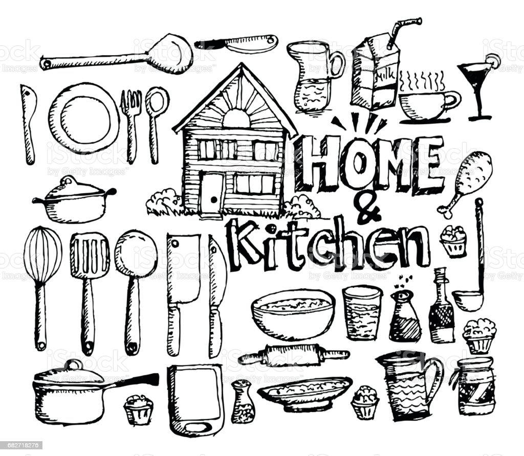 sketch Kitchen elements doodle vector art illustration