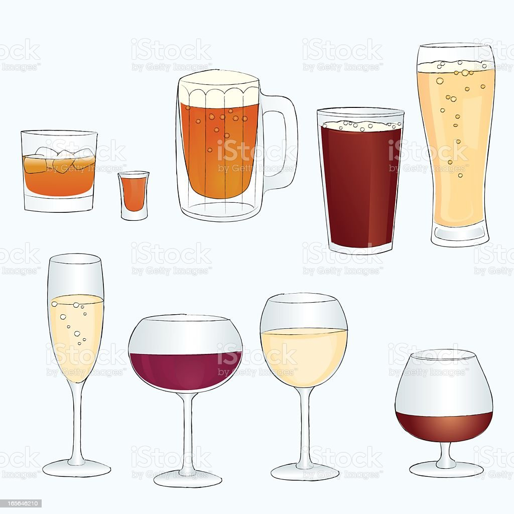 Sketch line style alcoholic in bar glasses royalty-free stock vector art