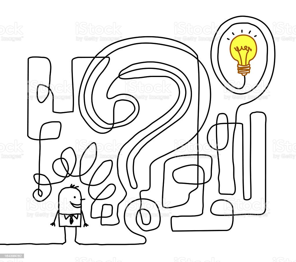 Sketch linking stick figure to light bulb with question mark royalty-free stock vector art