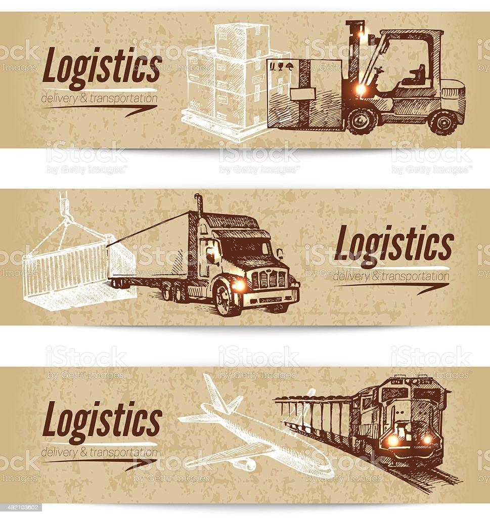 Sketch logistics and delivery banner set. Cardboard backgrounds. vector art illustration