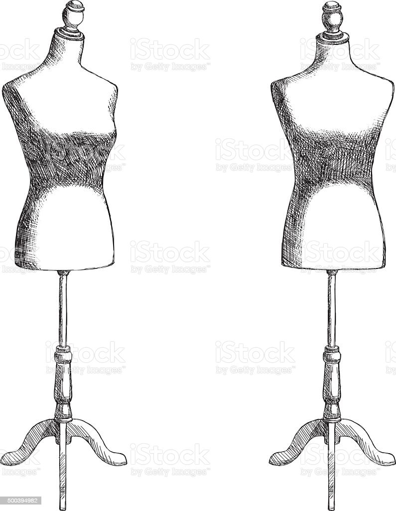 Sketch Mannequin vector art illustration