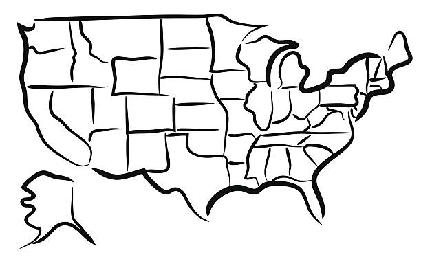 Us Map Outline Drawing Clip Art Vector Images Illustrations - Sketch drawing us map