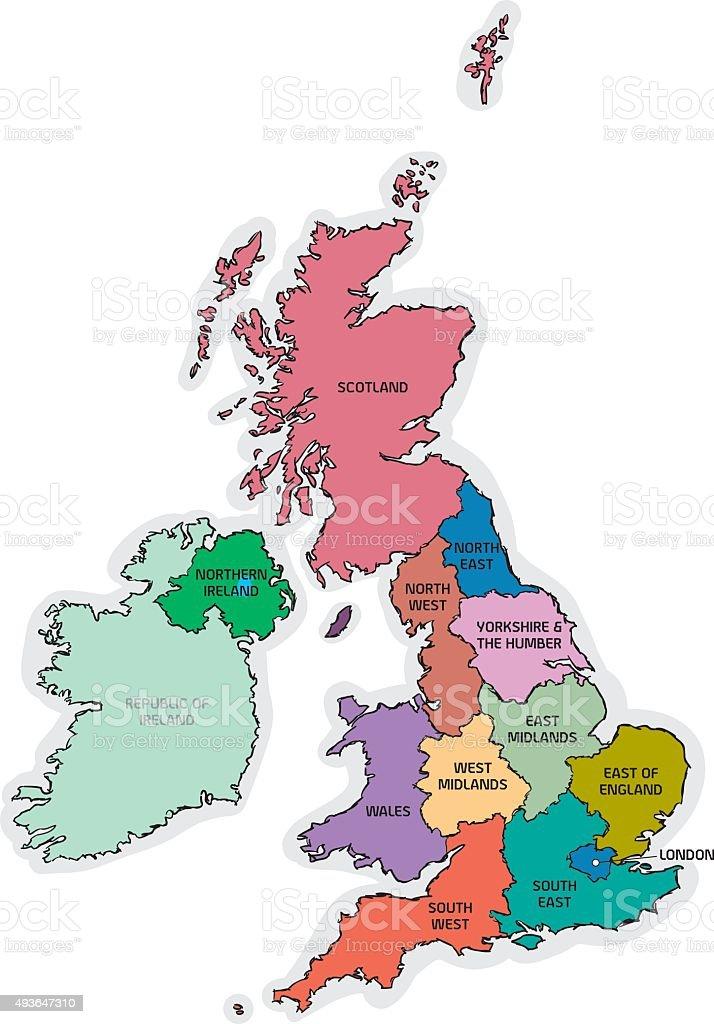 UK Sketch Map with Region Names vector art illustration