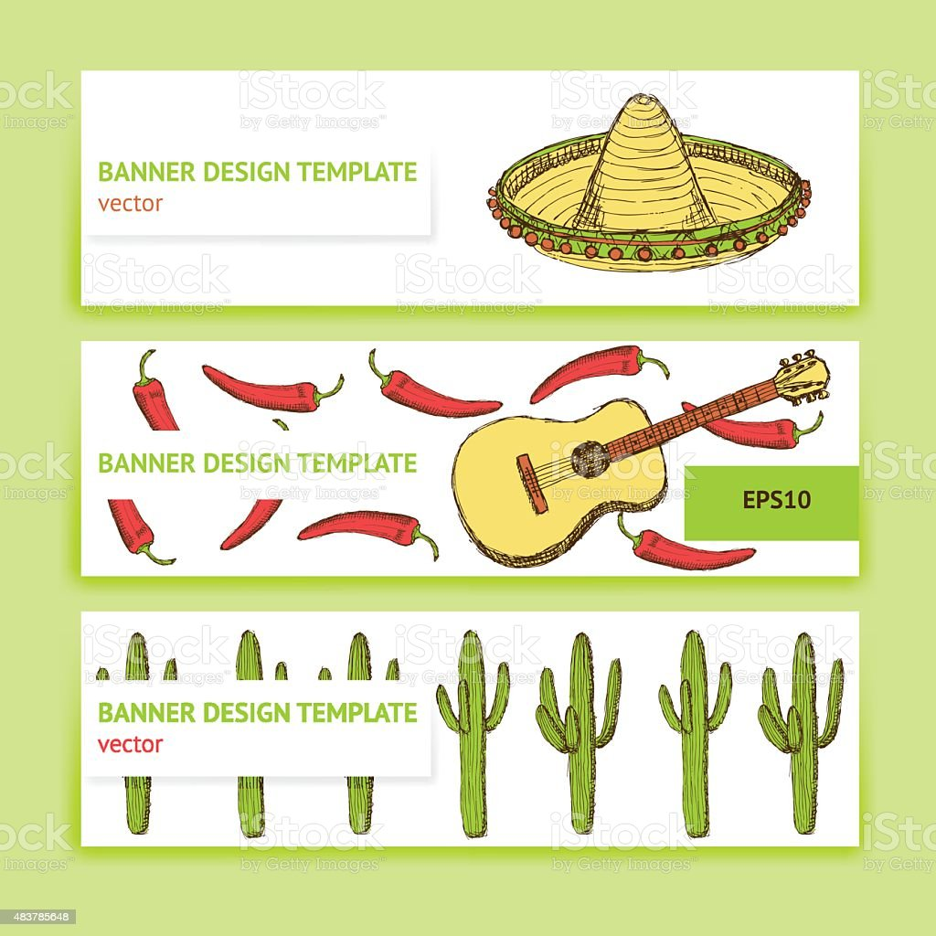 Sketch Mexican banners in vintage style vector art illustration