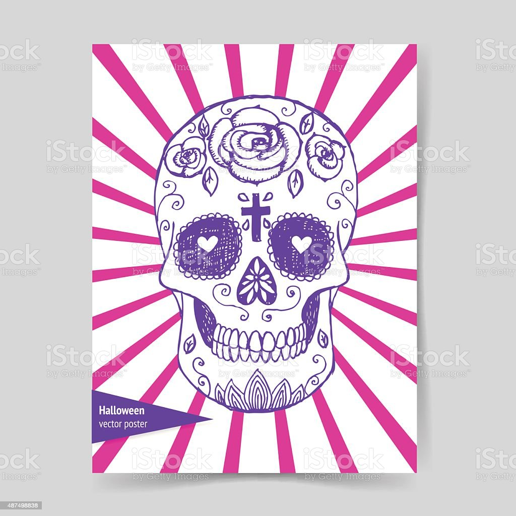 Sketch mexican skull in vintage style vector art illustration
