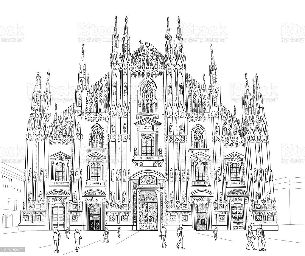 Sketch Milan Cathedral vector art illustration