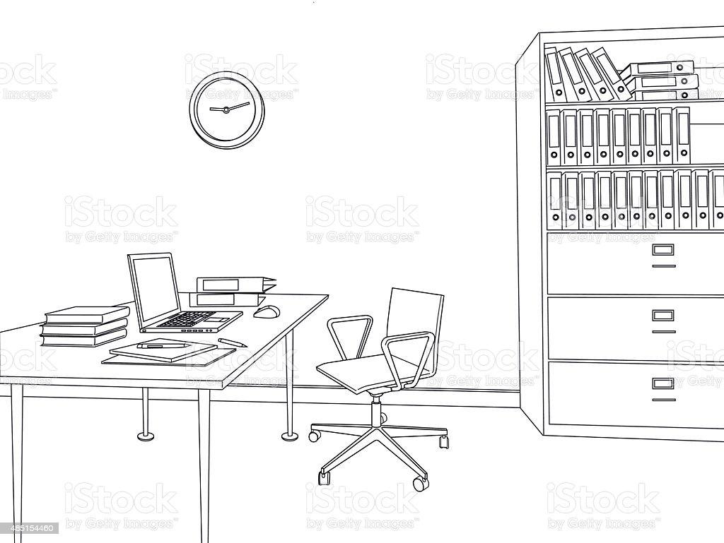 스케치 현대적이다 사무실 벡터 일러스트 일러스트 485154460  iStock