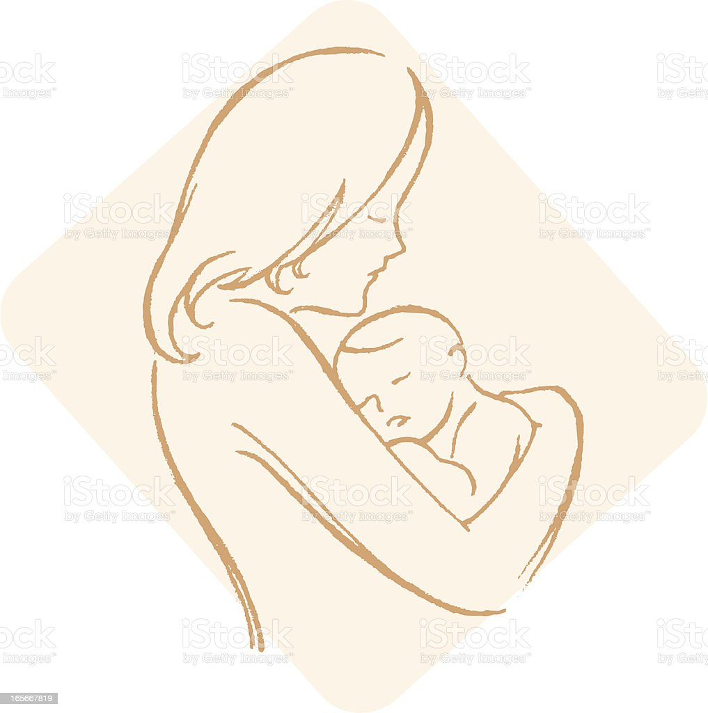 Sketch Mother and Child royalty-free stock vector art