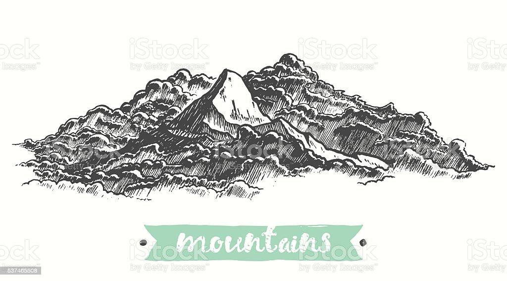 Sketch mountains engraving drawn vector vector art illustration