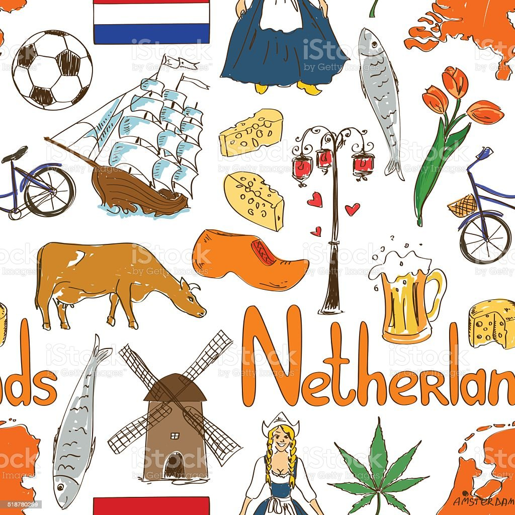 Sketch Netherlands seamless pattern vector art illustration