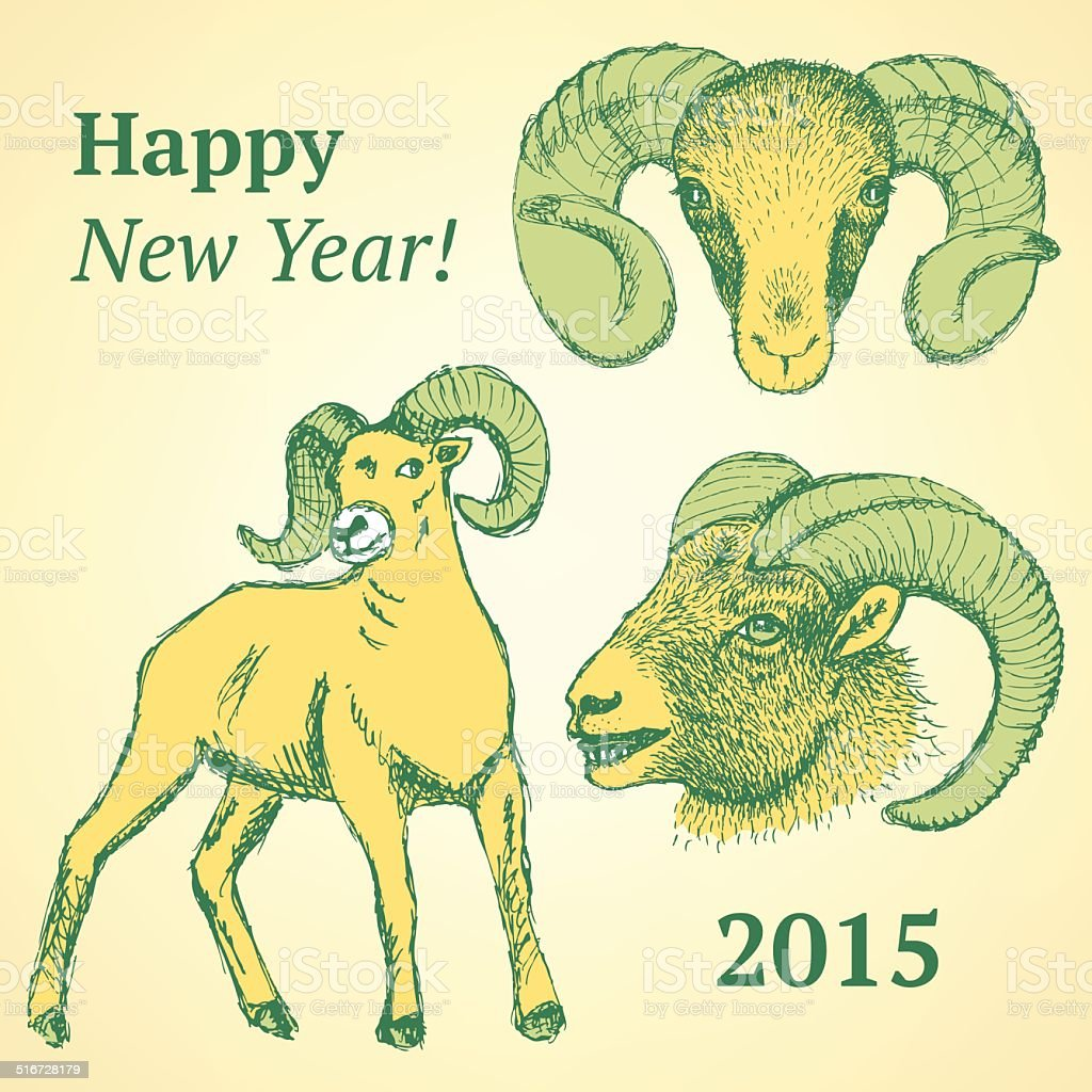 Sketch New Year ram in vintage style vector art illustration