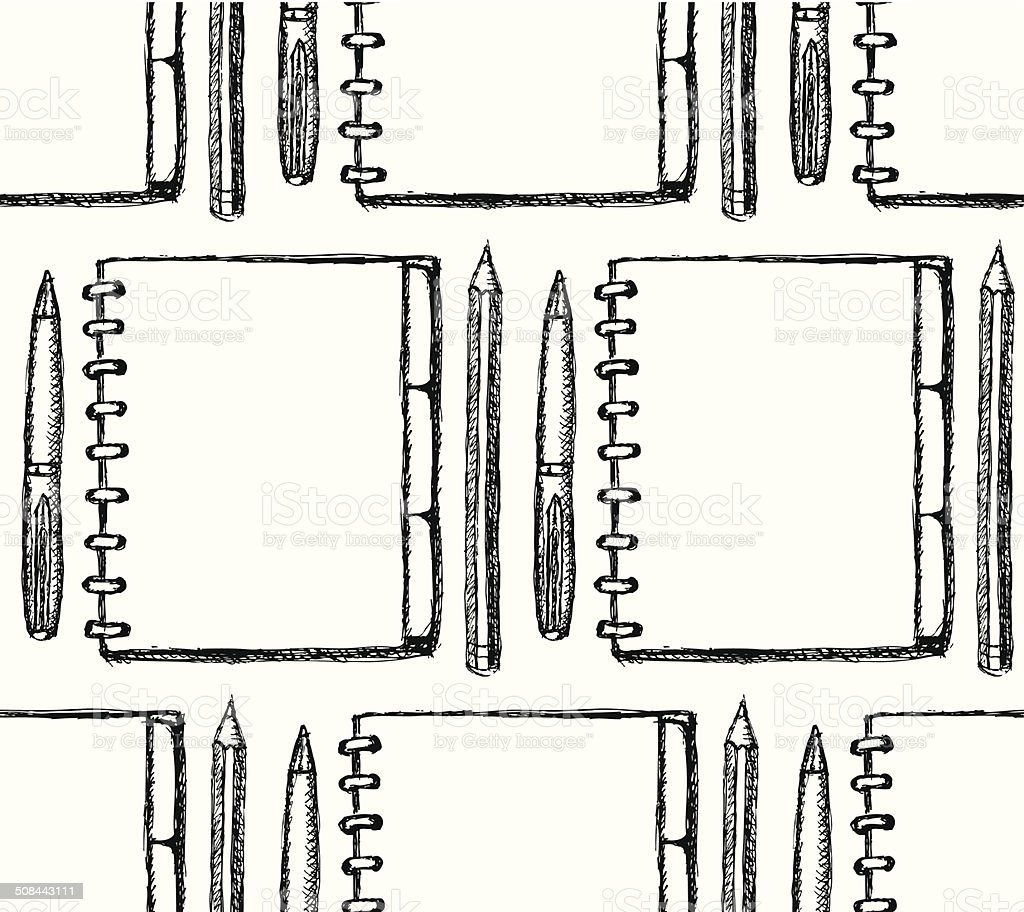 Sketch notebook, pen and pencil vector art illustration