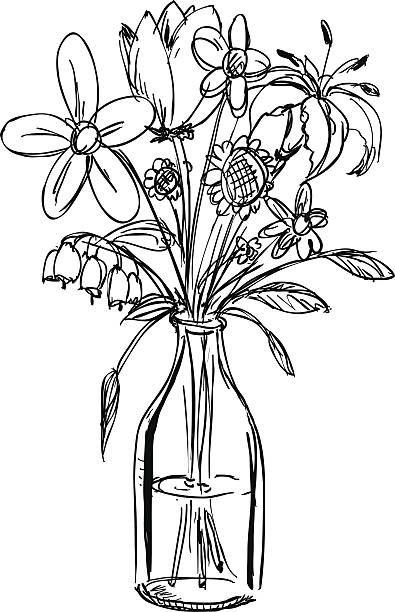 Drawing Of Flowers In Vases Clip Art Vector Images Illustrations