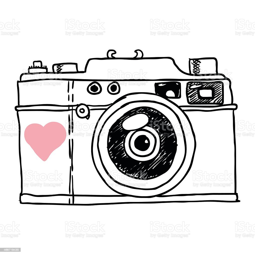 Sketch of a camera with a pink heart vector art illustration