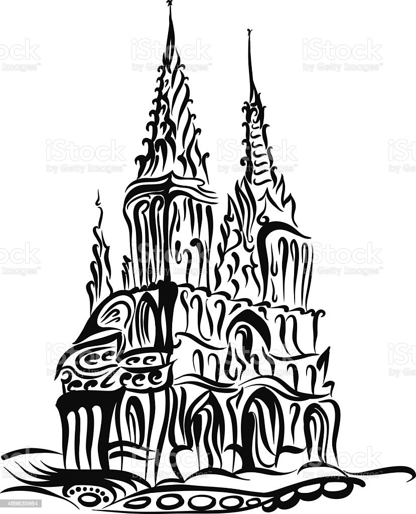 Sketch of a Catholic church in the Gothic style vector art illustration