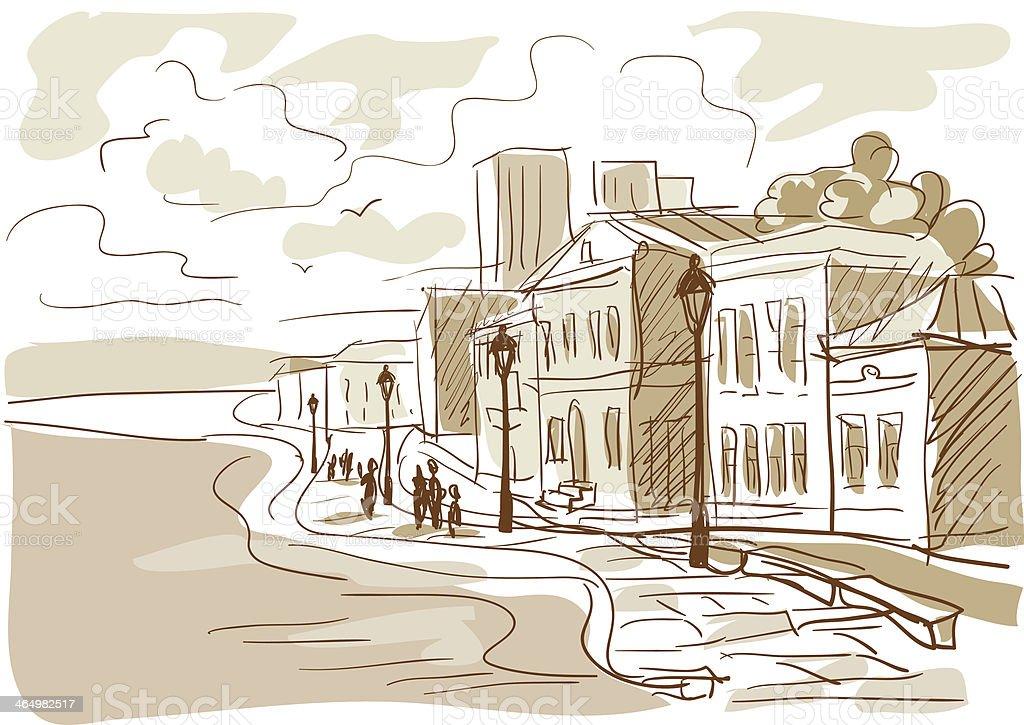 sketch of a city street, boulevard royalty-free stock vector art