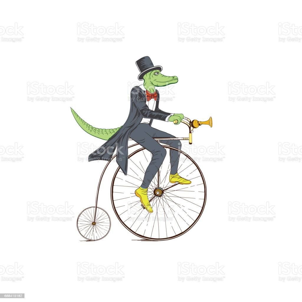 Sketch of a crocodile in a dress coat on a retro bicycle on a white background. vector art illustration