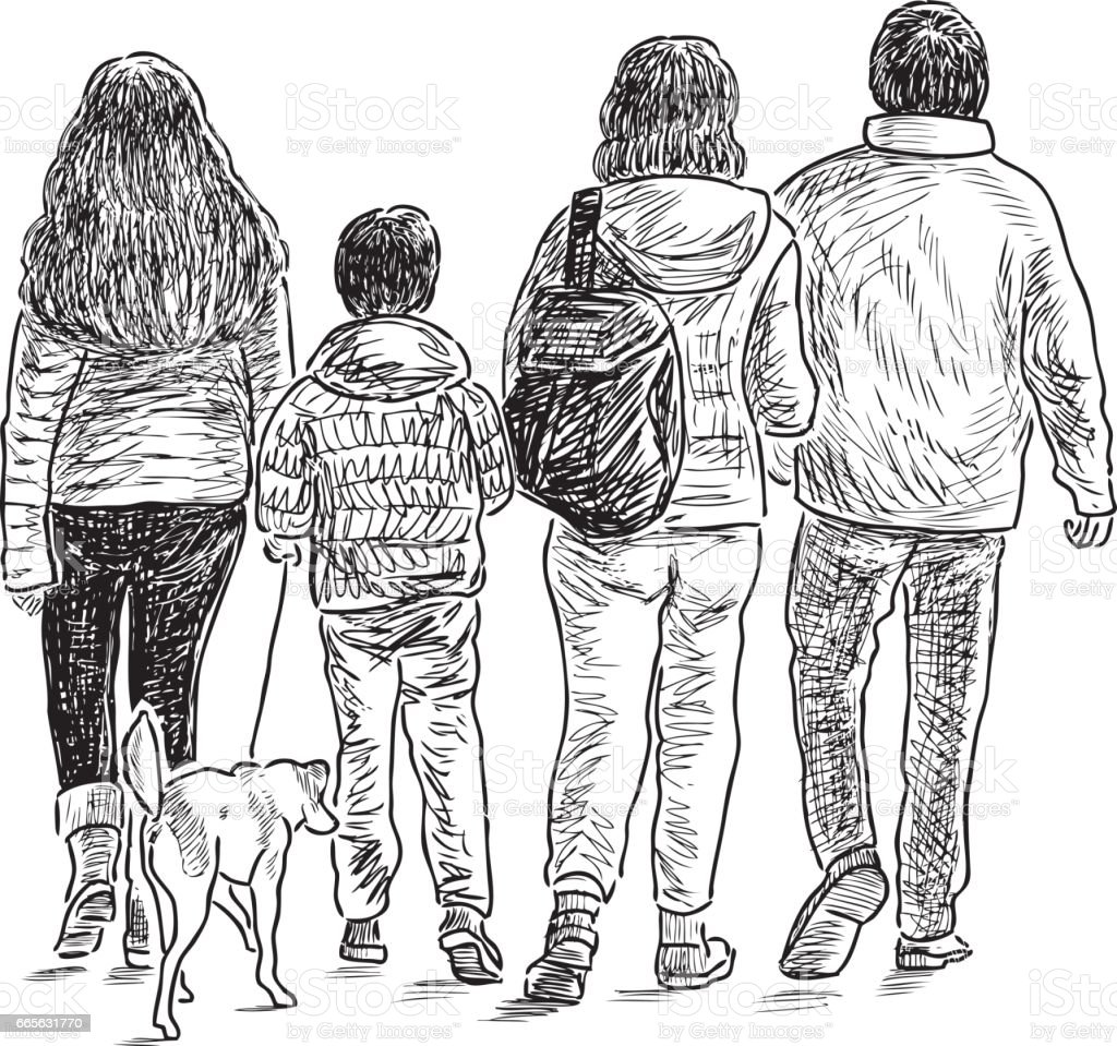 sketch of a family on a stroll vector art illustration