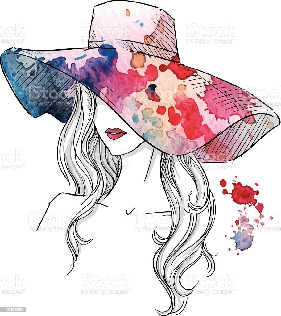 Sketch of a girl in a hat. Fashion illustration. Hand drawn royalty-free stock vector art