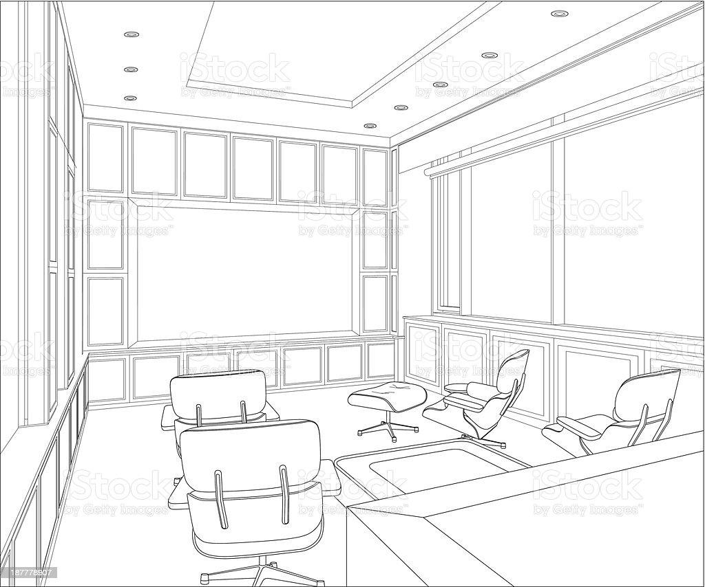 sketch of a interior royalty-free stock vector art