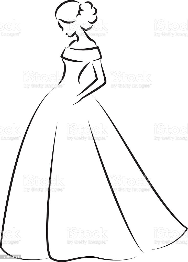 Sketch Of An Elegant Bride In White Wedding Dress Stock