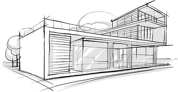 Skizze Der Architektur Vektorgrafik