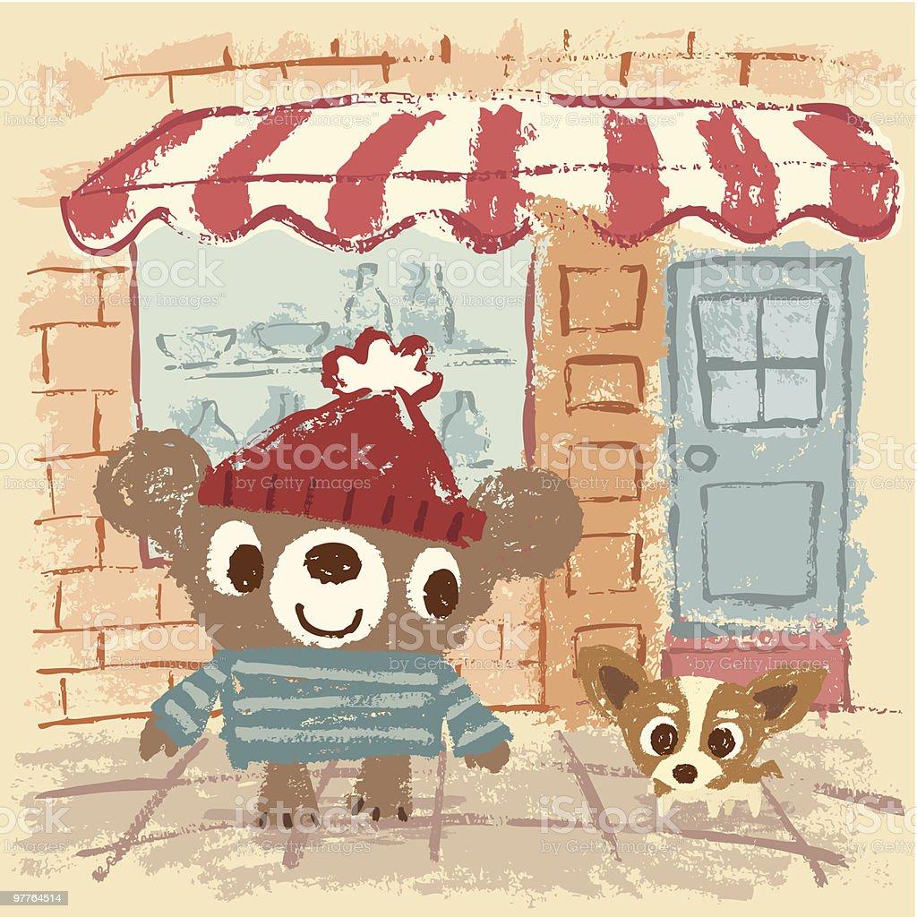 Sketch of Bear on the street vector art illustration