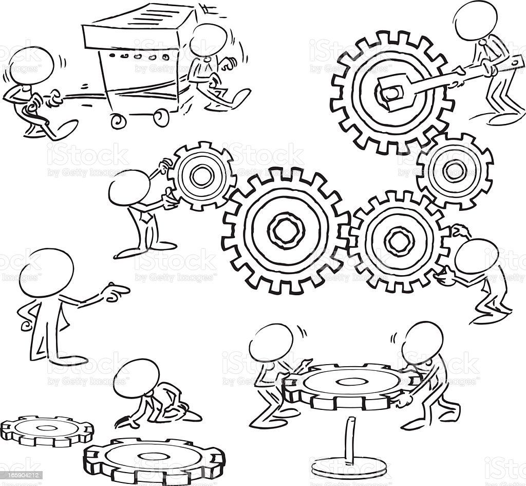 Sketch of characters working with gears royalty-free stock vector art