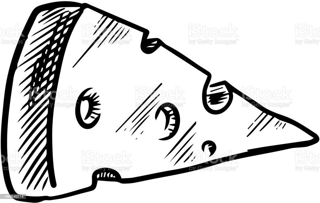 Sketch of cheese slice with holes vector art illustration